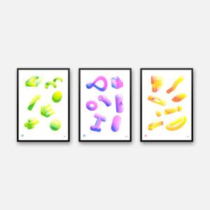 2x3 Set of 3 - A3 Riso Print